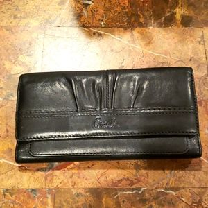 Coach Long Black Leather Wallet.